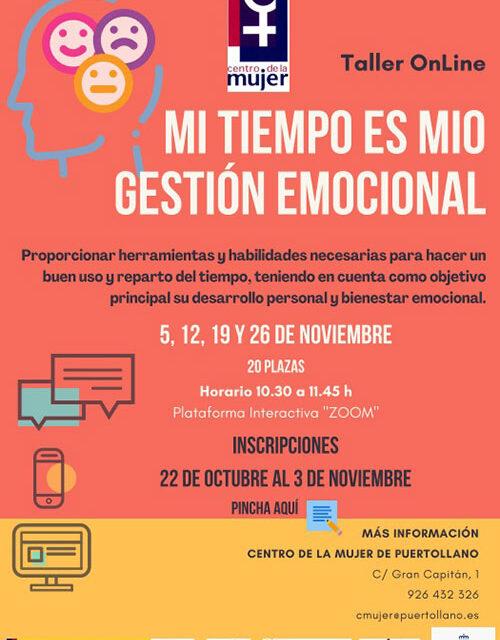 El Centro de la Mujer impartirá el taller on line «Mi tiempo es mío»