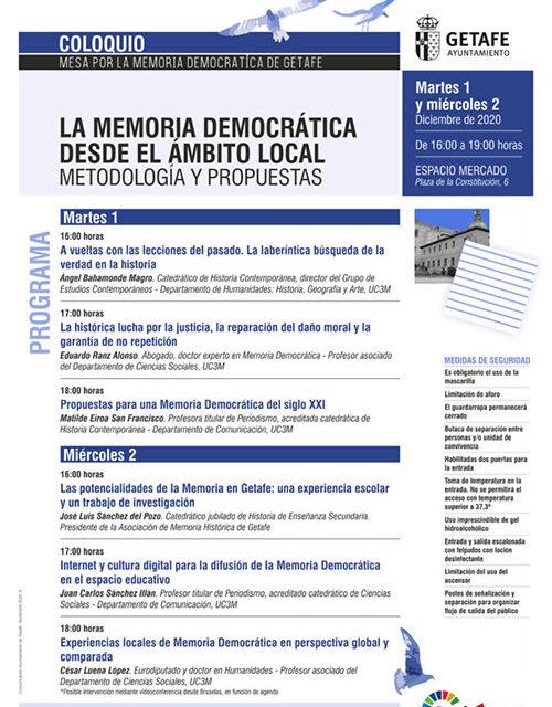 Getafe aborda 'La memoria democrática desde el ámbito local. Metodología y propuestas' en un coloquio
