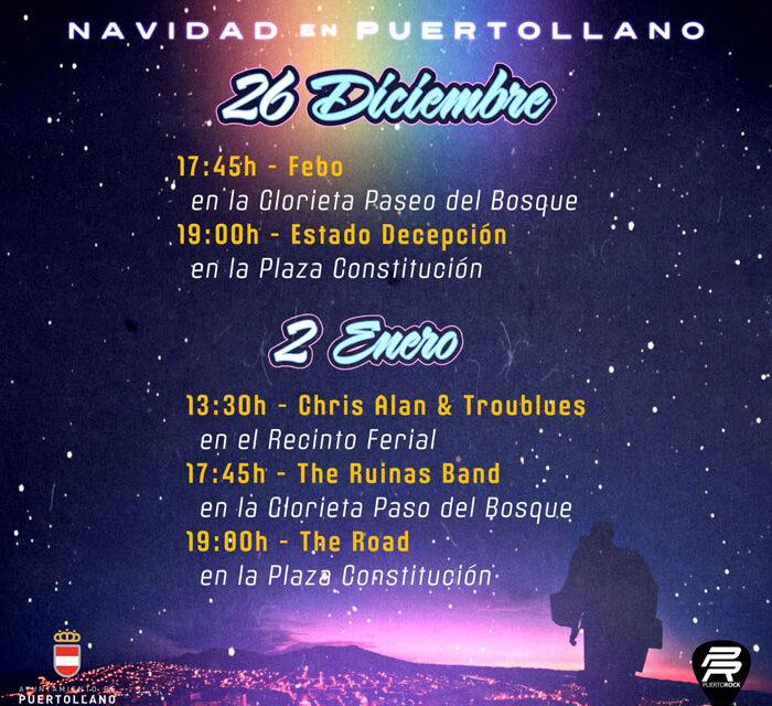 Cinco conciertos Puertorock en espacios urbanos el 26 de diciembre y 2 de enero